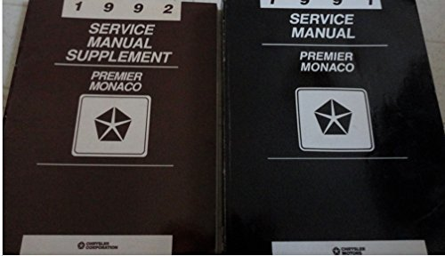1991 1992 EAGLE PREMIER Dodge Monaco Service Repair Manual SET W SUPPLEMENT