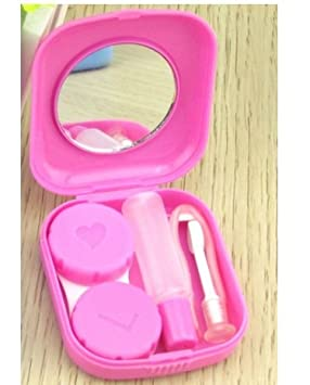 Sheery E 2 PCS Mini Travel Contact Lens Case Kit Holder Mirror Box (Random-color) Shiyao e-commerce