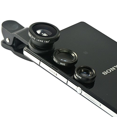 First2savvv JTSJ-4N1-A16 silver mobile phone Universal 4 in 1 Clip Camera professional glass Lens Kit (fish eye, wide angle, macro lens and barlow) for Huawei Ascend G510 Y300 Assend G740 Mate 2 4G Assend G700 Assend G610 with LENS Cleaning Cloth -  JTSJ-YYA063