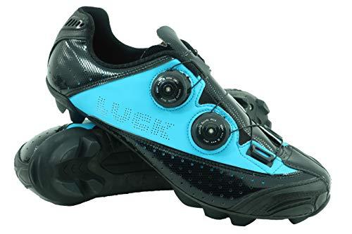 Natural Zapatillas Suela Y Laser Azul Carbono Con De negro Sistema Goma Mtb Rotativo Ciclismo Tacos Luck Doble 6qxUwpU