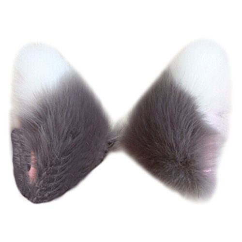 Song Qing Cosplay Party Cat Fox Long Fur Ears Costume Hair Clip Halloween Orecchiette (Grey+White) ()
