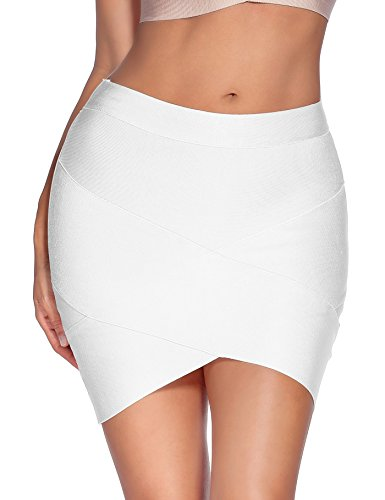 Meilun Women's Rayon Bandage Bodycon Mini Skirt (Large, White) (Mini Star Skirt Big)