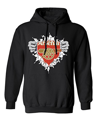 SMARTZONE Arsenal Super Hero Logo Soccer Football Futbol Youth Boys Girls Hoodie Sweatshirt (Black,YL)