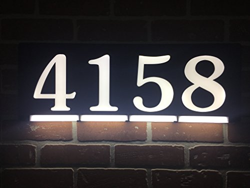 HOMIDEA Backlit LED House Number and Sound Activated Overhead Light. Personalized Large Black and White Modern Address Number Sign/Custom Street Number Plaque.