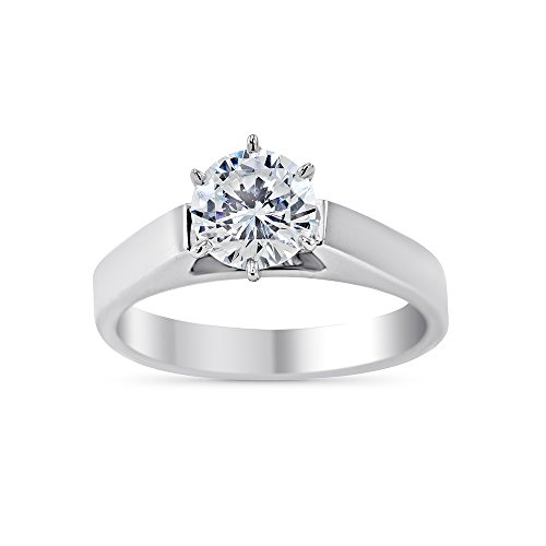 Art of Fine Six Prong Round Solitaire Square Cathedral Moissanite Ring