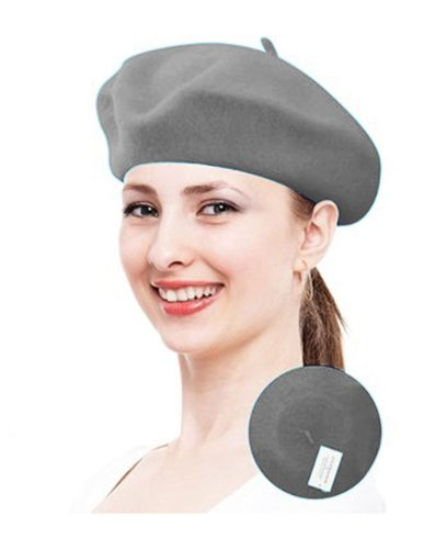 True Wool Beret-Taupe Color For Women in Marble Gray