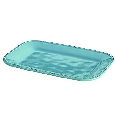 Rachael Ray Cucina Dinnerware Stoneware Rectangular Platter, 8-Inch by 12-Inch, Agave Blue