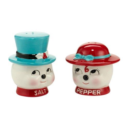 Department 56 Vintage Christmas Décor Line Snow Couple Salt and Pepper Set, 3.12-Inch