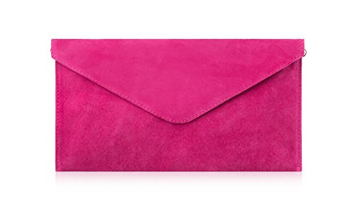 Purse Clutch Bag Fuchsia Leather Genuine Party Envelope Handbag Suede Cross Italian Bags Wedding Body Og7W78Rn