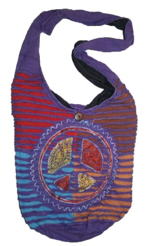 SJ 02 Peace Embroidery Tote Satchel Boho Bag (Purple Multi) by Agan Trades