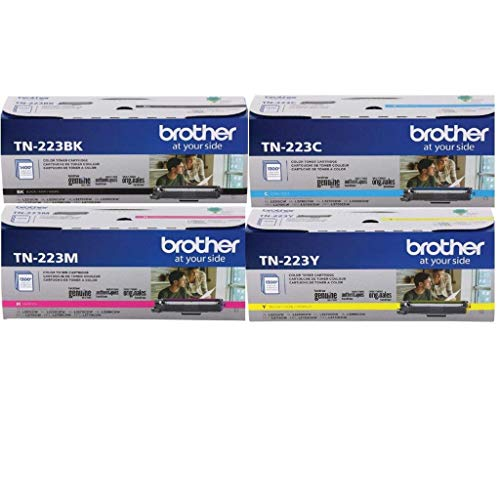 Brother TN223 Toner Set (BK/C/M/Y) (1) TN223BK, (1) TN223C, (1) TN223M, (1) TN223Y