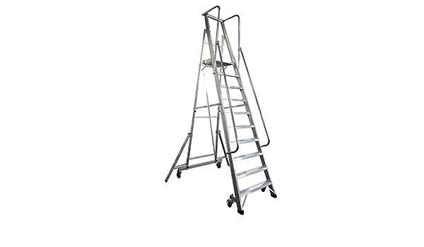 KTL Escalera Plegable con Plataforma y guardacuerpos 10 peldaños móvil Profesional Serie 2XL-s: Amazon.es: Hogar