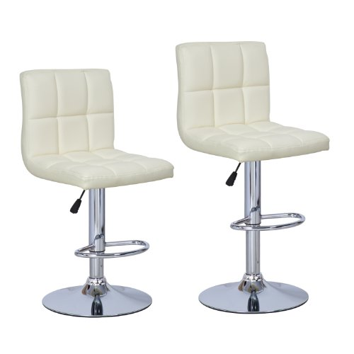 Joveco 360 Degree Swivel Adjustable Leatherette Barstool - Set of 2 (Cream)