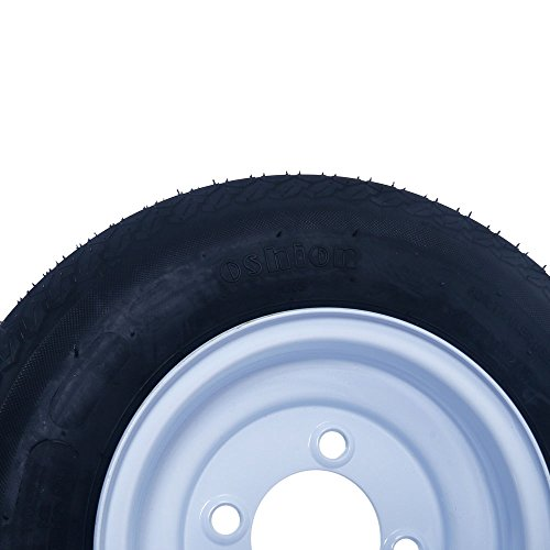 2 New Trailer Tires & Rims 480-8 4.80 X 8'' LRB 4 Lug Hole Bolt Wheel White Spoke, 4 Ply / 4PR by Autoforever (Image #5)