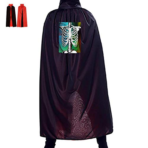 A Half Skeleton Double Hooded Robes Cloak Knight Cosplay Costume 35.5(in)