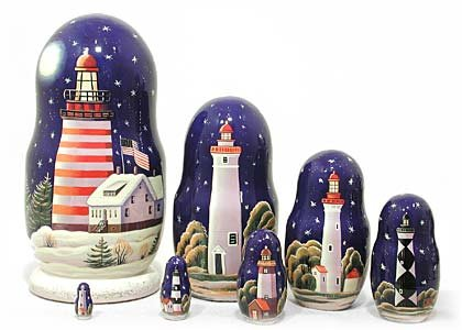 Lighthouses in the Night Russian Nesting Doll 7pc./8'' by Golden Cockerel (Image #6)