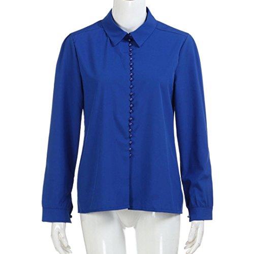 Femme Blanc Col Caraco Kanpola S Dcontract Bleu Solid Boutonn Blanc 4WqgOXwOn