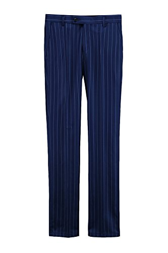 ByTheR Men's Wool Blend Classic Formal Wear Navy Blue Striped Slim Slacks Pants (Striped Pants Slacks)