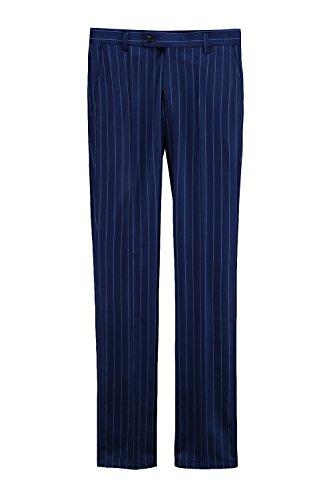 ByTheR Men's Wool Blend Classic Formal Wear Navy Blue Striped Slim Slacks Pants (Striped Pants Slacks)
