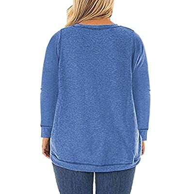 ROSRISS Womens Plus Size Tops Casual Loose Long Sleeve Side Split Tunics Shirts at Women's Clothing store