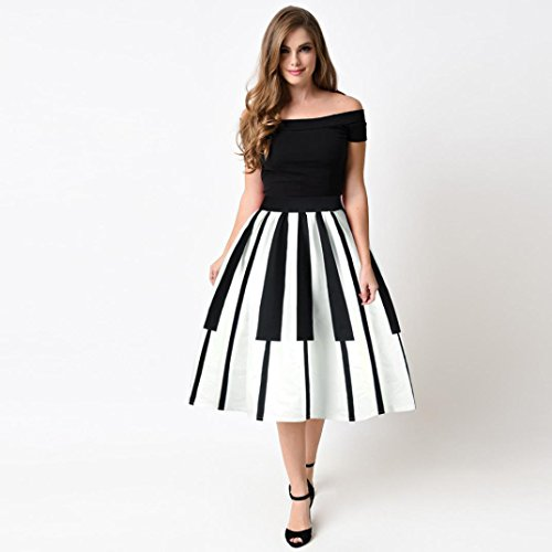 Summer Fluffy Pleated Printed Party Women Piano Touches Adeshop Partito Fancy Elastic Slim Skirt Pattern Slim Vita alta Dress Donna White OxdIUwq