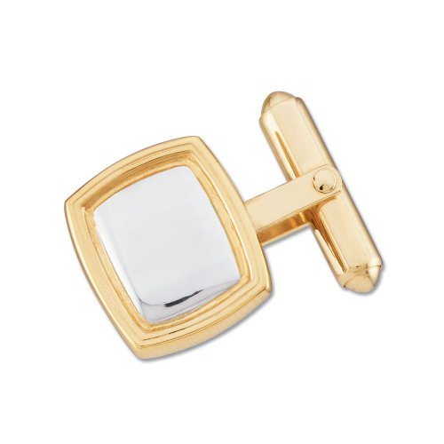 White-and-yellow-gold Two-Tone Square Cuff Link