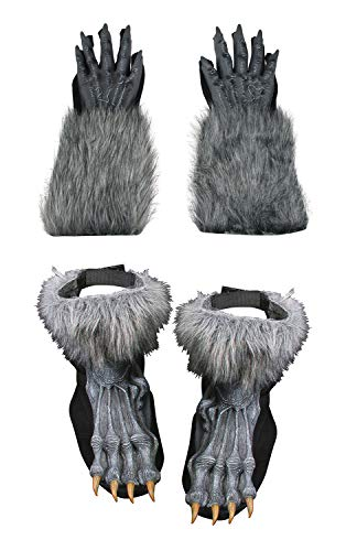 (Deluxe Werewolf Hands And Feet Costume Set, Gray, One Size)