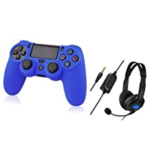 Everydaysource Compatible with Sony PlayStation 4 (PS4) Blue Silicone Skin Case + Black Handsfree Gaming Gamer Headset with Boom Microphone