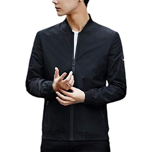 Fitted Casual Coat AngelSpace Plus Zipper Autumn Loose Size Men's Jacket Black YwwzqP