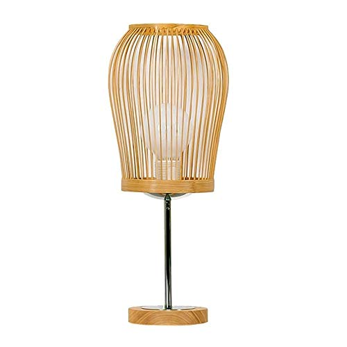 HZC Bamboo Table Lamp Japanese Style Rustic Retro Hand Wicker Rattan Shades Weave Lamp Shade Bedside Desk Lamp for Living Room Bedroom Dining Cafe Bar Club (And Between Wicker Rattan Furniture Difference)