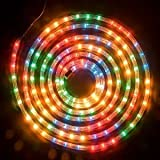 10m COLOUR ROPE LIGHT FLASHING CHRISTMAS OUTDOOR GARDEN XMAS FESTIVE DECORATION