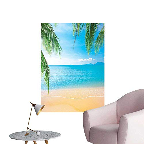 (Wall Decals Lago anf Sand Sea Ocean Picture Themed Print Turquoise Blue Ivory Environmental Protection Vinyl,20