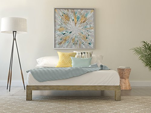In Style Furnishings Stella Modern Metal Low Profile Thick Slats Support Platform Bed Frame - King Size, Gold