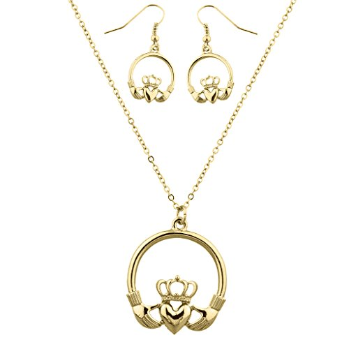 Lux Accessories Goldtone Claddagh Earring and Necklace Set (2PCS)