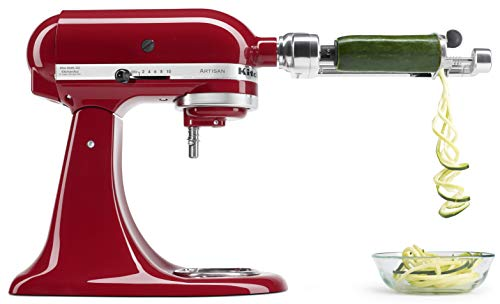KitchenAid KSM2APC Spiralizer Plus Attachment with Peel, Core and Slice, Silver ()