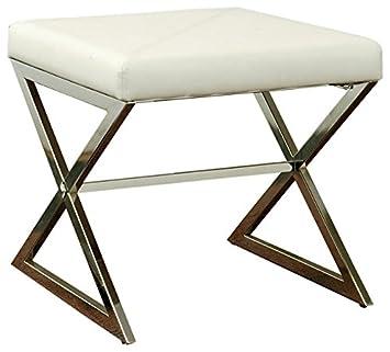 Coaster 501063 Home Furnishings, White Ottoman,
