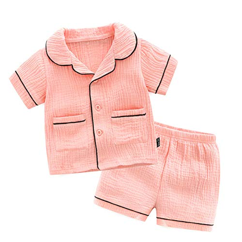CHAOSHUO Toddler Girls Pajamas Set Pink Unisex Sleepwear 2T-9T 2Pcs(Pink 1, 2T)