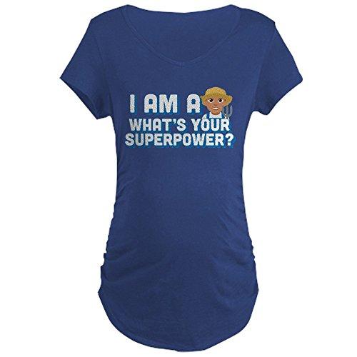 Farmers Maternity T-shirt - CafePress Emoji Superpower Farmer - Cotton Maternity T-Shirt, Side Ruched Scoop Neck
