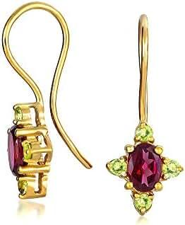 Bling Jewelry Silver Peridot Rhodolite Garnet Drop Earrings Gold Plated