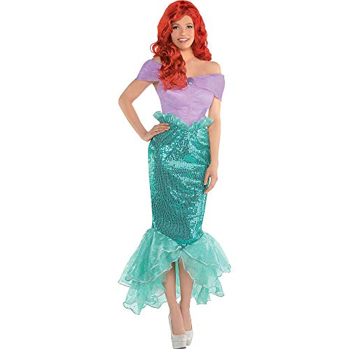 Costumes USA The Little Mermaid Ariel Costume for Adults, Size Medium, Includes a Dress with a Fitted Sequin -