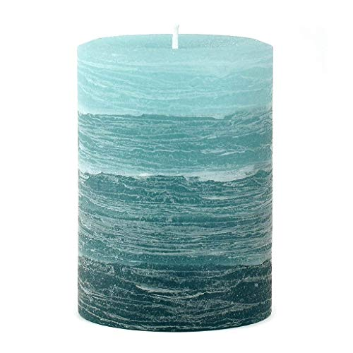 (Nordic Candle - Layered Pillar Candle - 3x4 Inch Teal - Unscented )