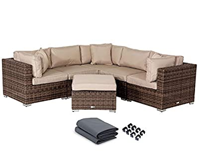 StellaHome Wicker Patio Furniture Conversation Set 6Pcs No Assembly Outdoor Sectional Sofa Aluminum L Shape Couch Modern Deck Rattan Furniture w/Free Waterproof Cover-Toss Pillows Included