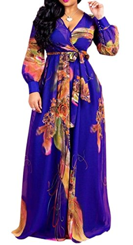 Womens Long Jaycargogo Sleeve Wrap Print V Maxi Long Dress Beach Floral Neck 3 Hn1dR1