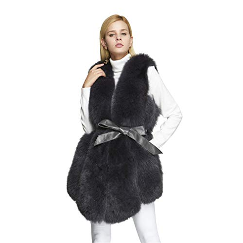 フィットスタジオ枯渇レディース ファーベスト 女性毛皮ジャケット ファーコート リアルフォックスファー アウター (Fur Story 18201)