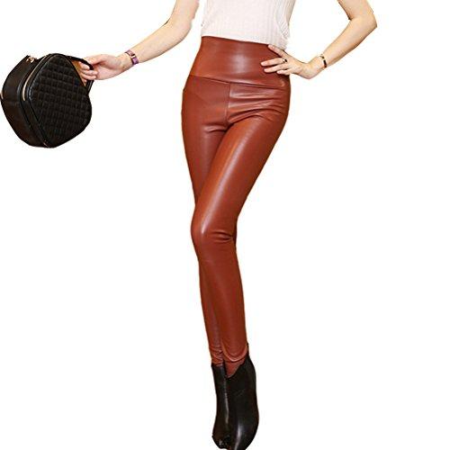 Pencil Trousers Women Faux Laixing Brown PU High Skinny Leather Waist Pants 8932 Stretch Hot vZYZqxf