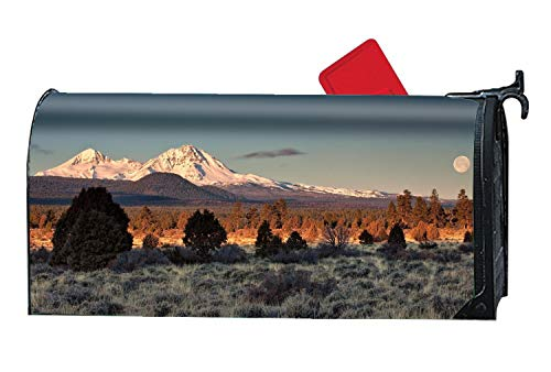 KSLIDS Decorative Magnetic Mailbox Cover Moon Sky Mountains Trees Colors Light Shadow Mailbox Wrap