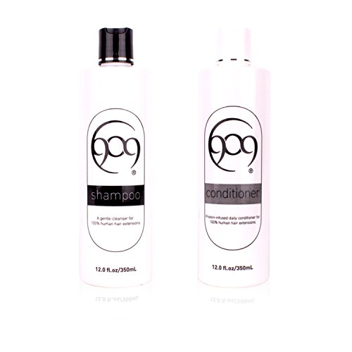 909 Shampoo and Conditioner Kit, Infused with Silk Amino Protein, For 100% Remy Human Hair Extensions and Wigs (12 oz)