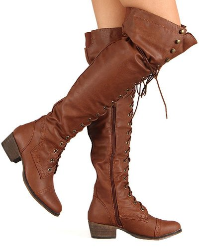 Breckelles Alabama-12 Dames Elastisch Over Knie Hoge Rits Vetersluiting Lace-up Boots