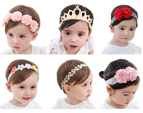 Baby Headbands with Flower Qandsweet Little Girl's Hairband Boutique for Birthday Party Photograph Daily (Mixed 6 Models)