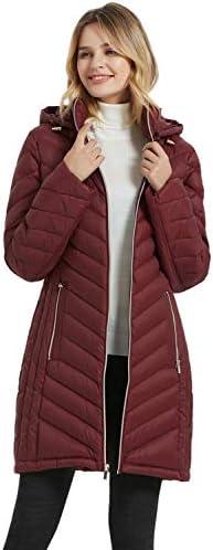 BINACL Women's Down Coat,Winter Packable Lightweight Hooded Long Down Puffer Jacket,5 Color S-XL